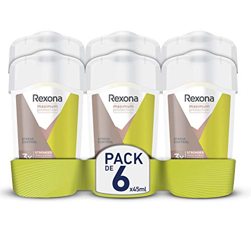 RexonaMaximum Protection Crema Antitranspirante Stress Control 45 ml - Pack de 6