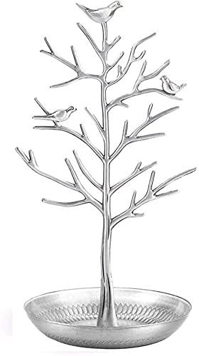 Aleación de joyería árbol exhibición estante soporte torre, utilizado para colgantes, pendientes, collares, anillos, joyería-plata antigua
