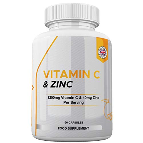 Vitamin C 1200mg & Zinc 40mg - 120 Capsules - for Maintenance of Normal Immune System - Vegan & Vegetarian UK Made