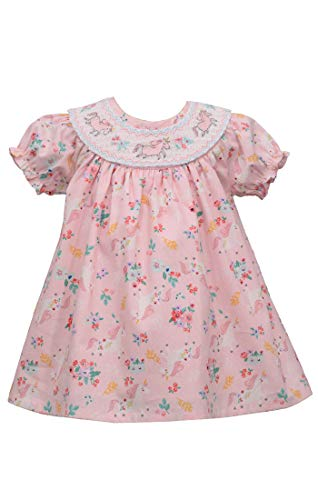 Bonnie Jean Easter Dress - Smocked Spring Summer Dress for Baby Toddler and Little Girls (3-6 Months, Pink Unicorn)