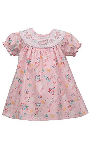 Vestido de Páscoa Bonnie Jean – vestido de primavera para bebês e meninas pequenas, Pink Unicorn, 2T