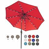 ABCCANOPY 9FT Patio Umbrella Ourdoor Solar Umbrella LED Umbrellas with 32LED Lights, Tilt and Crank Table Umbrellas for Garden, Deck, Backyard and Pool,12+Colors,(Red)