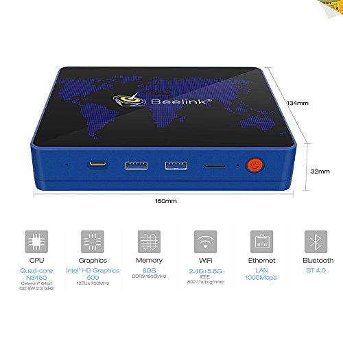 【8GB RAM + 64GB ROM】 Maxesla S1 Mini PC, Support win10 System, Intel Apollo Lake Celeron N3450 Processor Smart Desktop Computer with 4K, Dual-Band WiFi, Gigabit 1000M LAN, Bluetooth 4.0, Type-C Port