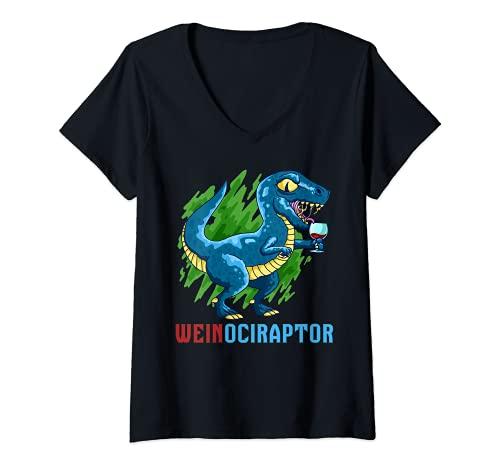 Damen Du liebst Dinosaurier und Wein du bist ein Weinociraptor T-Shirt mit V-Ausschnitt