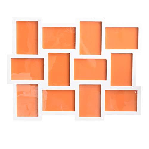 Rebecca Mobili Cadre Photos Multiples, Pêle-mêle Mural, Capacité 12 Photos de 10 x 15, MDF, Blanc, Collection de Mur – Dimensions: 47 x 60 x 1,2 cm (HxLxL) - Art. RE4065