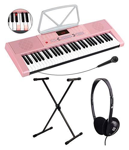McGrey LK-6120-MIC Keyboard Set - Einsteiger-Keyboard mit 61 Leuchttasten - 255 Sounds und 255 Rhythmen - 50 Demo Songs - Inklusive Mikrofon - Spar-Set inkl. X-Keyboardständer und Kopfhörer - Pink