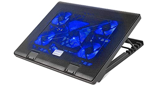 MVPower Base Raffreddamento Notebook, Supporto Ventilato e Regolabile per Laptop 5 Ventole 5 Altezze Regolabili e 2 Porte USB, con Illuminazione LED Blu, Compatibilità da 12  a 17  di Pollici