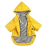 Chubasqueros para perro con cremallera amarilla para perro con botones reflectantes, bolsillos, resistente a la lluvia y al agua, cordón ajustable