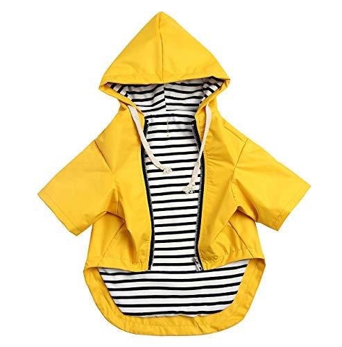 Pethiy- Stylische Premium Hunde Regenmäntel – Hundebekleidung mit Reißverschluss, mit Taschen, Regen-/wasserabweisend, Verstellbarer Kordelzug-Gelb-S