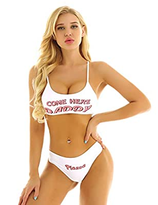 FEESHOW Women's Yes Daddy Bikini Lingerie Bra Top and Panty Sets 2 Piece Strappy Babydoll White X-Large