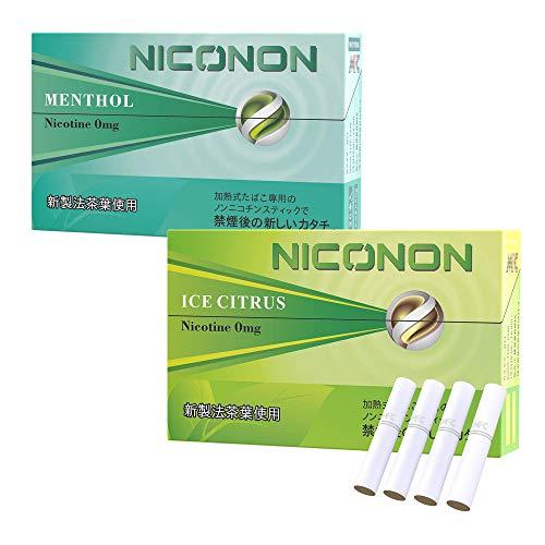 NICONON ニコノン 禁煙後の新しいカタチ。アイコス互換機 次世代ニコチン0mg加熱式スティック (メンソール&アイスシトラス, 各1箱ずつ吸い比べセット)