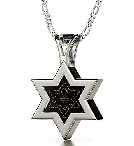 925 Sterling Silber Davidstern Kabbala Kette Ana Bekoach und Name Gottes Graviert auf Hebräisch mit 24k Gold auf 10mm Schwarzem Onyx Anhänger, 50cm Silberkette