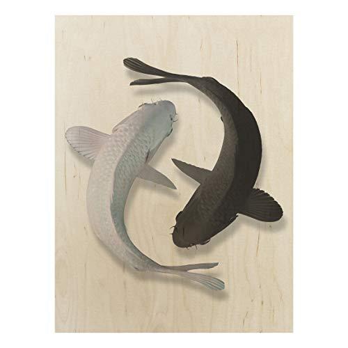 Bilderwelten Cuadro en Madera - Fish Ying Yang 80x60cm