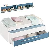 Habitdesign 0A7438Y - Cama Nido Juvenil Dos Camas y un cajón, Color Blanco Alpes y Azul, Medidas: 200 cm (Ancho) x 69 cm (Alto) x 96 cm (Fondo)