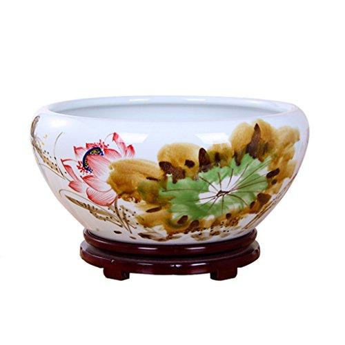 Vase Peaceip Chinois en Céramique Blanc Pots De Fleurs sans Trous Poissons Réservoir Salon Chambre Décorations Intérieures Plante Conteneur avec Plateau (Taille : S)