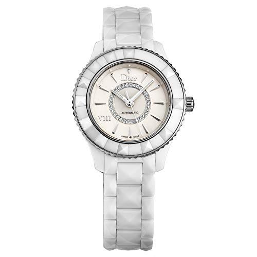 Dior VIII Automatic Diamond Dial White Ceramic Ladies Watch CD1235E3C002