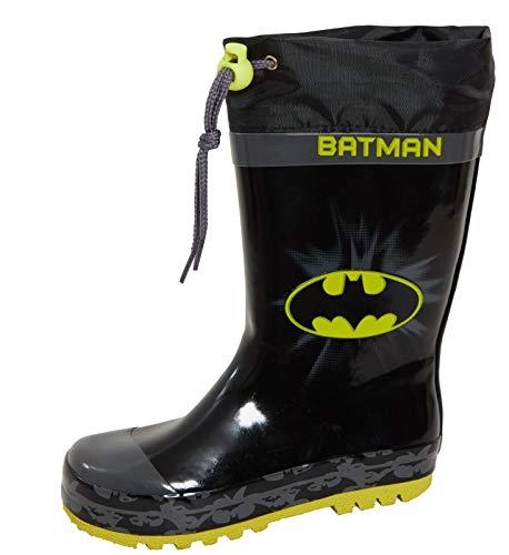 DC Comics Boys Batman Wellingtons Tie Top Wellington Boots 8.5 UK Child Black