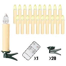 OZAVO 20 Set LED Kerzen mit Fernbedienung Weihnachtskerzen Kabellos Warmweiss, Christbaumkerzen Kabellos Kerzenlichter