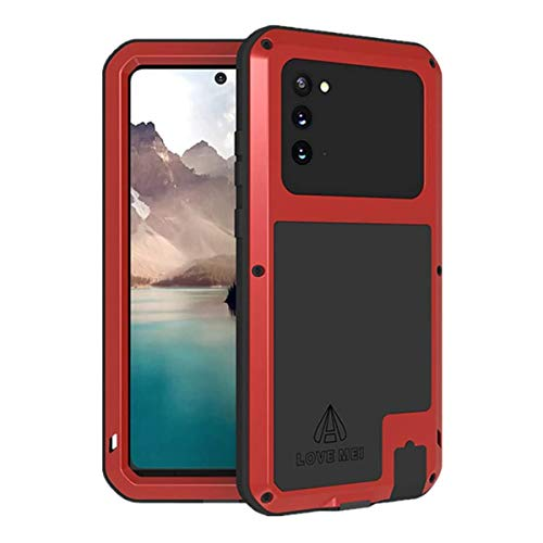 LOVE MEI for Samsung Galaxy Note 20 Ultra Case, Heavy Duty Outdoor Sports Military Shockproof Waterproof Dustproof Hybrid Metal Cover【No Tempered Glass】 for Galaxy Note20 Ultra (Red)