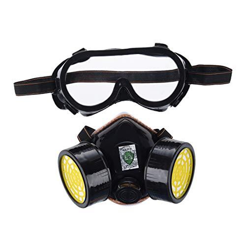 SODIAL (R) antipolvo Spray Gas Chemical doble protección de vías respiratorie Pintura Filtro Goggles Gafas