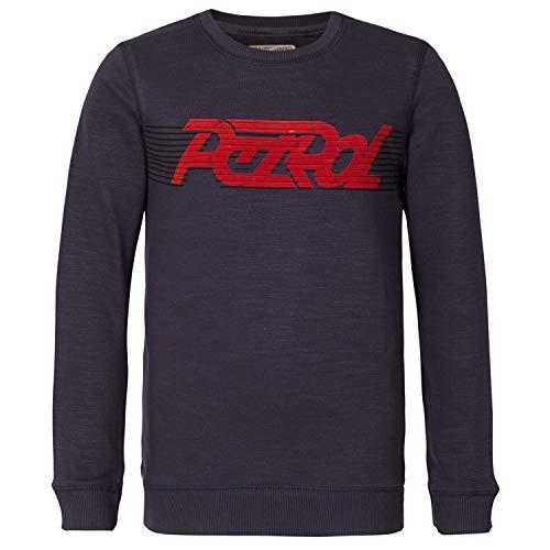 Petrol Industries - jongens sweatshirt pulli lange mouwen sweater met tekst petroleum ind, donkergrijs - B-3090-SWR325