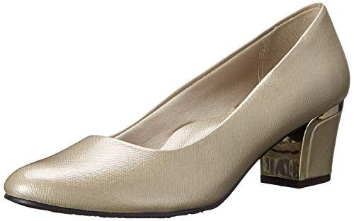 Soft Style By Hush Puppies Women's Deanna Dress Pump, Bone Cross/Hatch Patent/Gold Heel, 9.5 N US