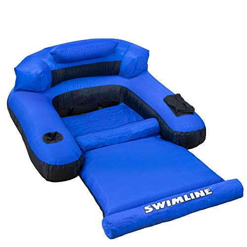 "55"" Water Sports Blue and Black Inflatable Ultimate Floating Swimming Pool Chair Lounger"