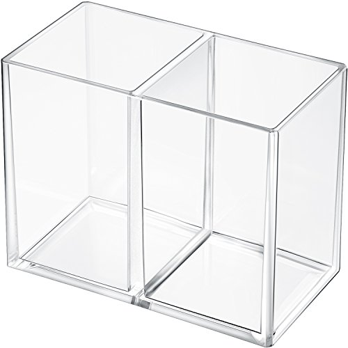 Gejoy Acrylic Pencil Pen Holder Large Makeup Organizer for Desktop Stationery Organizer Clear (2 Compartments)