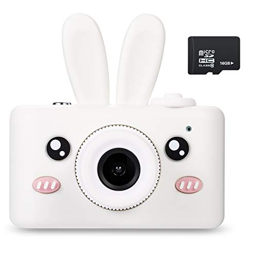 Abdtech Gifts Rabbit Kids Camera, Rechargeable Digital Cameras with Shockproof Bunny Cover, Toy Cameras for 5-10 Year Olds Girl Boys with 16GB SD Card Birthday Halloween Presents
