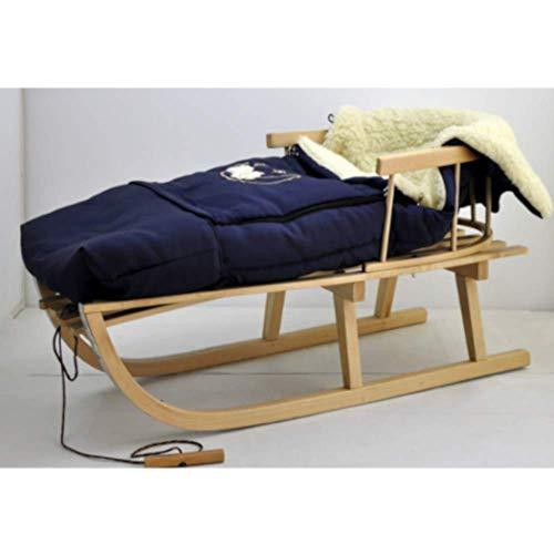 Houten slee kinderslee van beukenhout, rugleuning incl. trekkoord + wintervoetenzak steekzak voetenzak met ritssluiting 40/110 cm slee metalen glijders donkerblauw