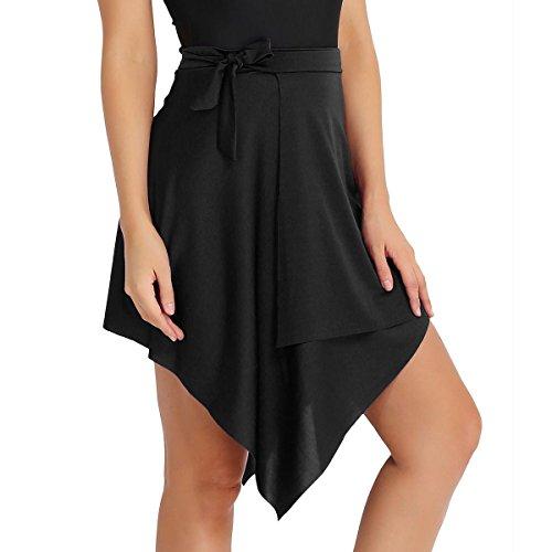 CHICTRY Frauen Ballsaal Latein Salsa Tango Dance Rock Kleid Skate Wrap Schal Dancewear Schwarz One Size