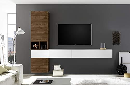 arredocasagmb Parete attrezzata Composizione Sospesa Soggiorno Moderno Bianco Lucido Noce Dark Scuro Pensile Porta TV Over 105 (Bianco Lucido - Noce Dark)