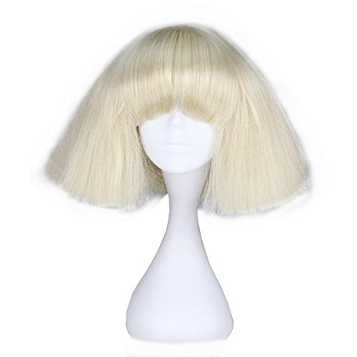 Missuhair Short Blonde Straight Wig - Girl Fashion Party Hair Costume Halloween Wig Adult