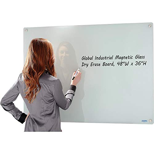48 x 36 Magnetic Glass Dry Erase Whiteboard with Markers and Eraser, White