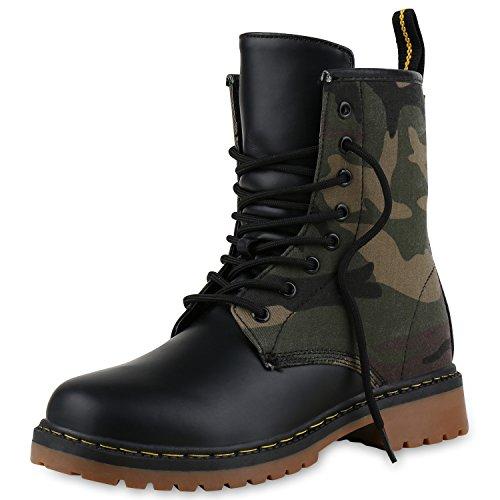 SCARPE VITA Geschnürte Damen Worker Boots Profil Sohle Punker Stiefeletten 160487 Camouflage 36