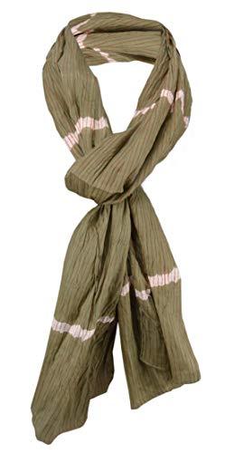 TigerTie gecrashter sjaal in olijfgroen wit oranje gestreept - maat 180 x 50 cm.