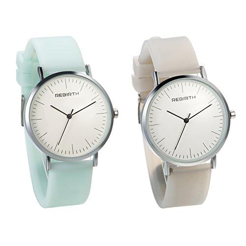 JewelryWe 2PCS Damen Armbanduhr einfach Zeitloses Design Analog Quarz Uhr mit Silikon Band, Grün Weiß