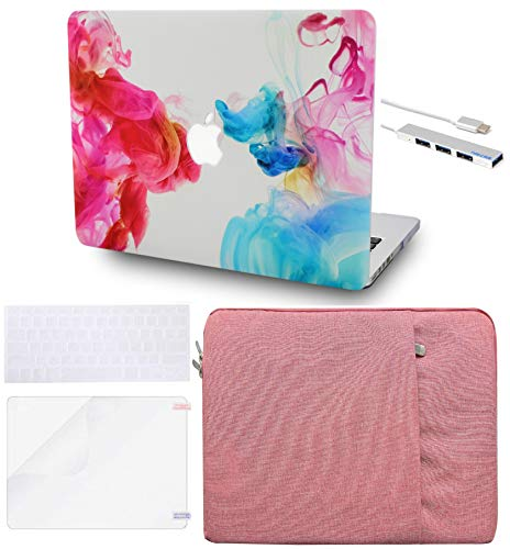 LuvCase 5 in 1 Laptop Case for Old MacBook Pro 13' Retina Display (2015/2014/2013/2012) A1502/A1425 Hard Shell Cover, Sleeve, USB Hub 3.0, Keyboard Cover & Screen Protector  Oil Paint