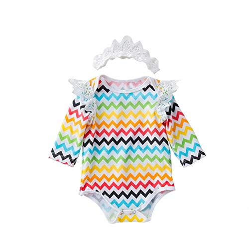 lulongyansf Manga Larga del bebé Pascua Romper Romper Volante con Olas Impresa Mariposa Body Diadema 73cm 2Pcsclothing