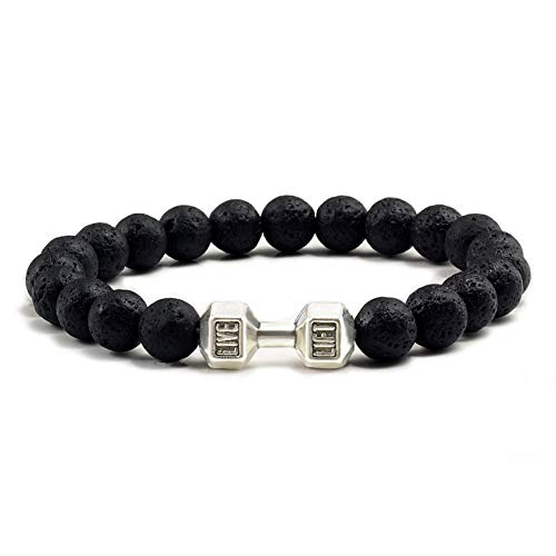 RQQDSZ Natural Black Lava Volcanic Stone Fashion Fitness Fit Life Dumbbell Bracelets for Women Men Party Gifts Barbell Jewelry