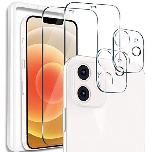 """[4 Pack] 2 Pack Screen Protector Compatible With iPhone 12 (6.1"""") [Not for iPhone 12 Pro] + 2 Pack Camera Lens Protector Tempered Glass for iPhone 12, [Easy Installation Frame] [Anti-Scratch] [Bubble Free] (Clear)"""