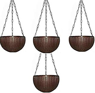 Plastic Hanging Pots for Plants and Flowers for Garden Balcony Decor -Pack of 4, Coffee Brown Color