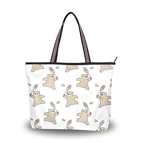 Zemivs Bolsos de hombro para mujer, bolso de hombro de raqueta de bádminton de entretenimiento de dibujos animados, bolso grande para mujer con cremallera para mujer, niñas y adultos