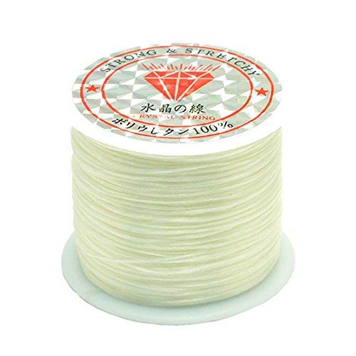 Bead String Rubber Stretchy String Elastic String 0.5mm Crystal String DIY Jewelry Making Cord Bracelets Beading Thread 50m/Roll for Children Adult Women Men Girls - White