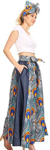 Sakkas 19065 - Pantalón Ancho de Mujer con Estampado Africano de Amarella con Bolsillos y Cintura elástica - 133-GrayBlue - OS
