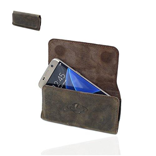 Smart-Planet® Hochwertige Smartphone Gürteltasche Echt Leder Quertasche 4XL – Handy Tasche – Vintage Erscheinungsbild – 16 x 8,5 x 1,3 cm – Handyhülle – Etui