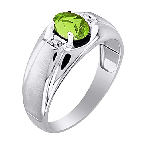 Birthstone Anillo Plata de Ley o plata chapado en oro amarillo peridoto y diamante anillo