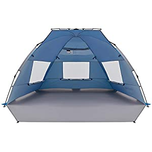 KingCamp サンシェードテント ワンタッチ テント 日除け UPF50+ 2~3人用 ビーチテント大型 コンパクト 簡単組立・収納 キャンプテント アウトドア 運動会 公園 海水浴