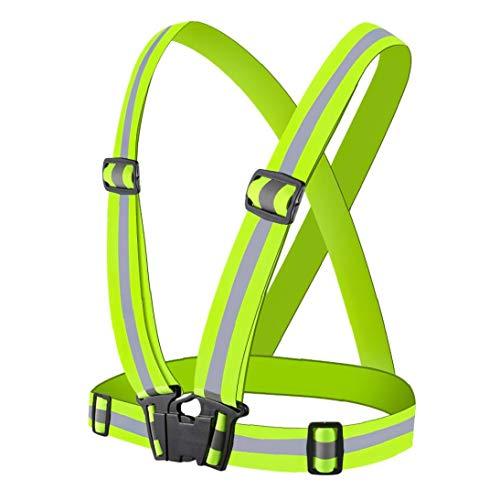 Berrywho Reflectante Ciclismo Cinturón LED Chaleco Reflectante de Alta Estiramiento al Aire Libre Chaleco Reflectante Seguridad del Tráfico Reflector de Verde