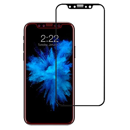 Stuffcool Mighty 2.5D Full Screen Tempered Glass Screen Protector Guard for Apple iPhone X - Black (Case Friendly & Edge to Edge)